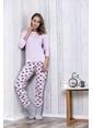 Lingabooms Ayıcık Desenli Kalpli Kadın 3'Lü Pijama Takım  Pembe